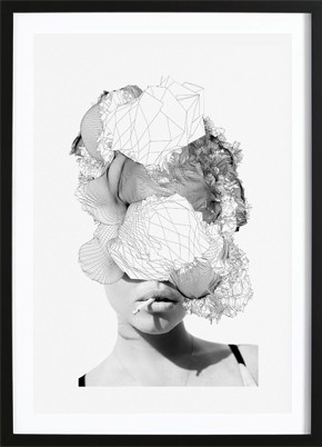 Girl Smoking Abstract Poster